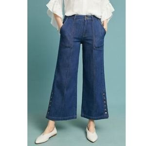 Anthro Pilcro High-Rise Cropped Wide-Leg Jeans